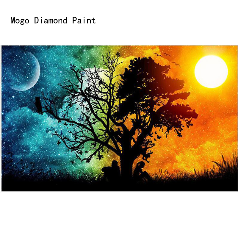 DIY 5D diamond painting Sun and moon with full diamond mosaic sun and moon picture by rhinestones for craft christmas gift