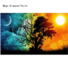 DIY 5D diamond painting Sun and moon with full mosaic sun  picture by rhinestones for craft christmas gift