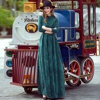 VERRAGEE women vintage maxi dress a line pocket spring 2018 new pleated elegant high waist brand big size dress