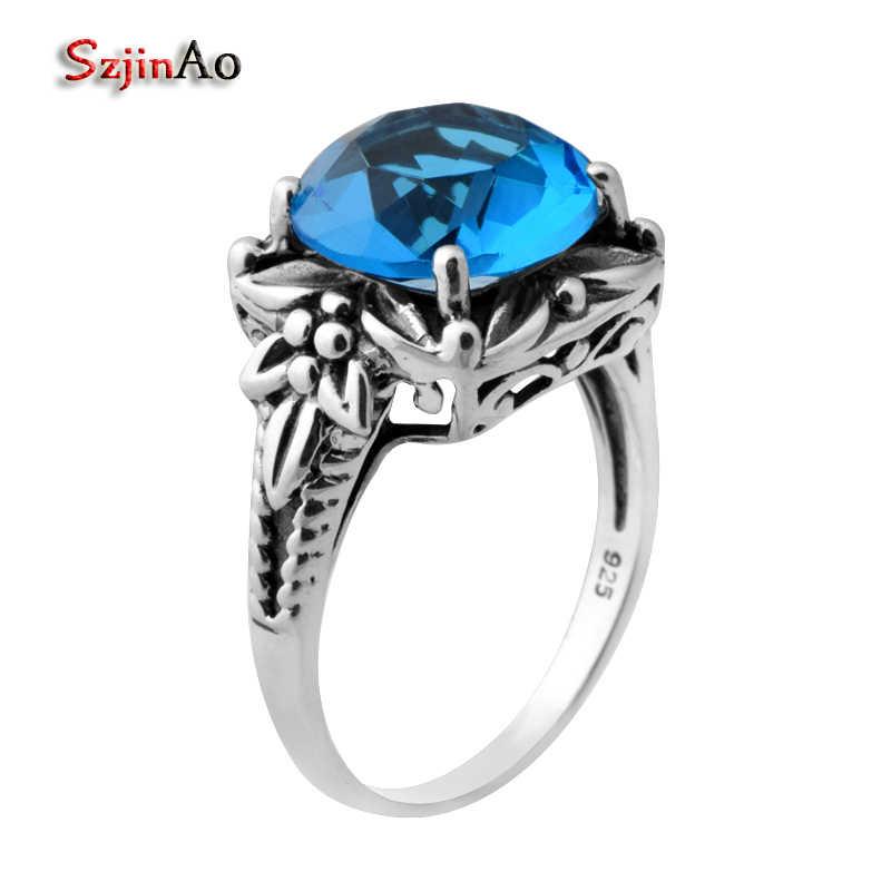 Szjinao แหวนแฟชั่นผู้หญิง Victoria 925 Sterling Silver Blue Topaz แหวนแหวนหมั้นขายส่ง