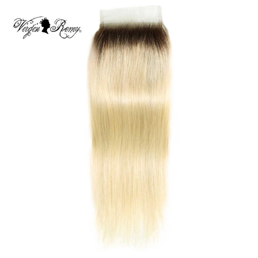 Queen Virgin парик из волос Реми прямые 4*4 Кружева закрытия человеческих волос T4/613 Блондинка Перуанские накладные пучки волос 10-20 дюймов Бесплатная доставка
