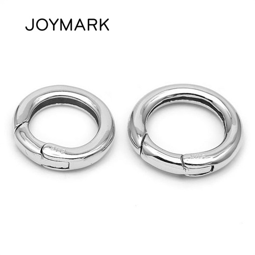 White Rhodium Plated Smooth Round 925 Sterling Silver Spring Lock Clasps For DIY Pearl Gemstone Jewellery