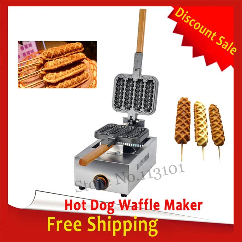 Free Shipping Hot Dog Waffle Machine Gas Type Sausage Grill Maker free shipping gas type 4 pcs hot dog lolly waffle machine hot dog grill come with recipe