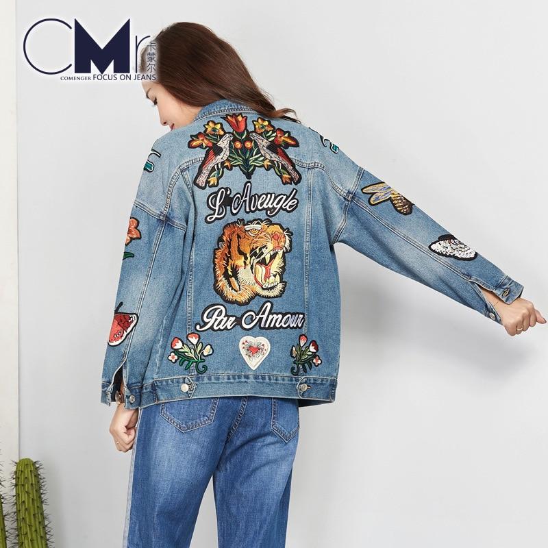 Embroidered Jacket Designs Floral Denim Coat Long Sleeve Vintage Shorts 2019 New Fashion Women Jeans Jacket