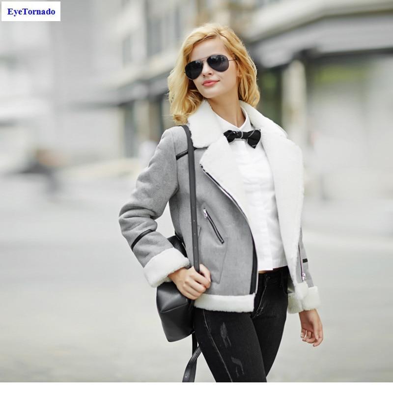 Women cashmere patchwork suede jacket motorcycle biker pilot jackets outwear short casual work  winter fashion jackets XXL 7017E