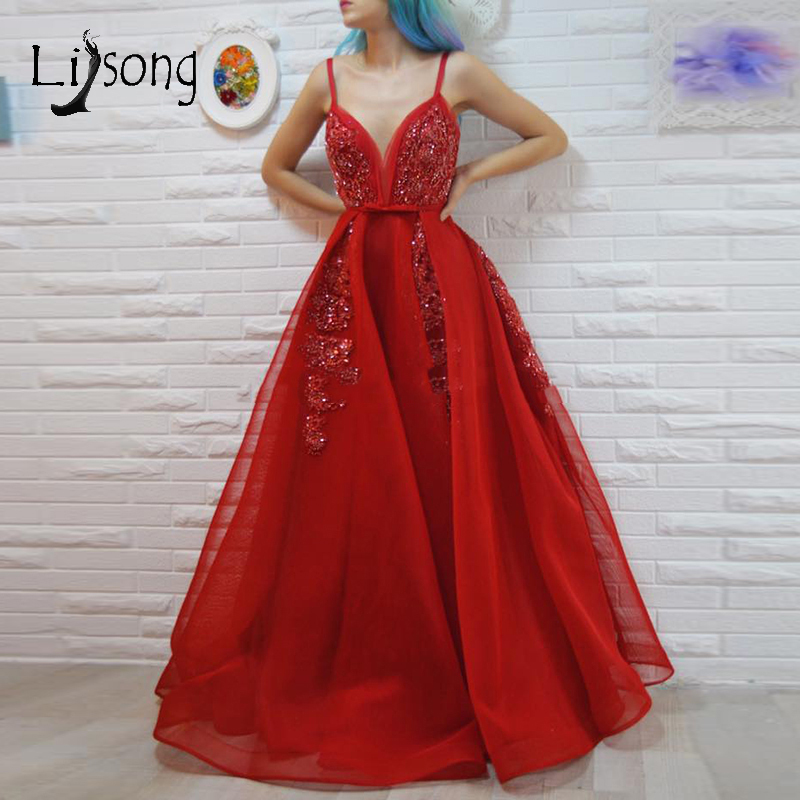 Luxury Sexy Red Beaded Prom Dresses 2019 Sparkle Sequined Crystal A-line Prom Gowns Organza V-neck Party Dress Robe De Soiree