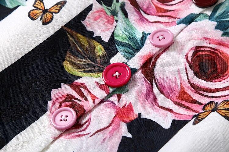 Rayé Manches Avec Boutons Noir Vintage Droite Top Sans Mini Imprimer Robe Qualité Piste Rose Gilet Robes Couleur xpCnwACY8q