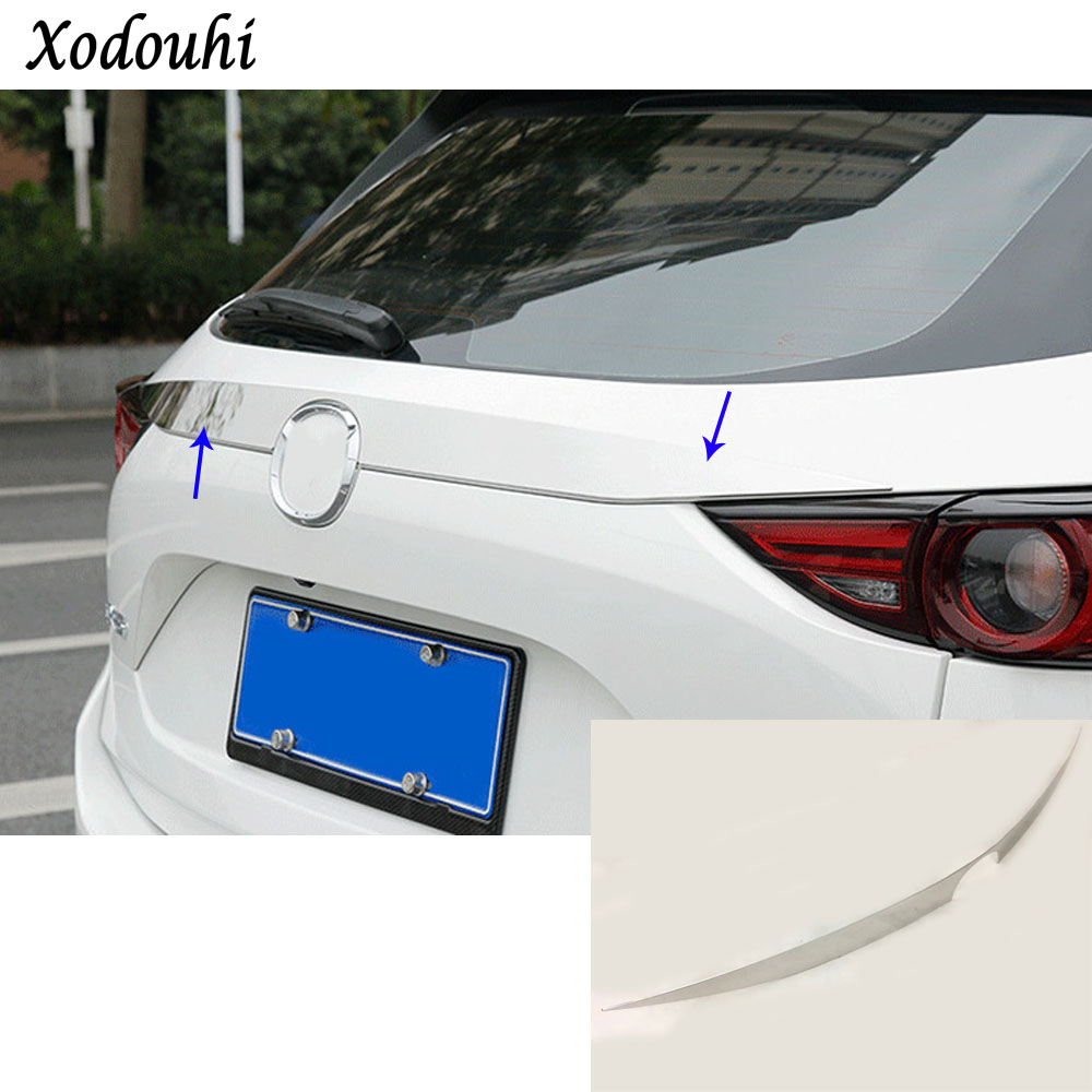 Car styling cover detector Stainless steel Rear door Tailgate frame plate trim lamp parts For Mazda CX-5 CX5 2nd Gen 2017 2018 for mazda cx 5 cx5 2017 2018 2nd gen lhd auto at gear panel stainless steel decoration car covers car stickers car styling