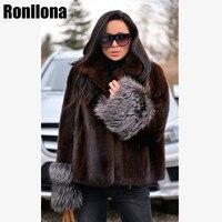 2018 New Real Mink Fur Coat Lapel Collar Furry Jacket Women Fur Genuine Short Mink Coats Women Overcoat Winter Real Fur MKW 090