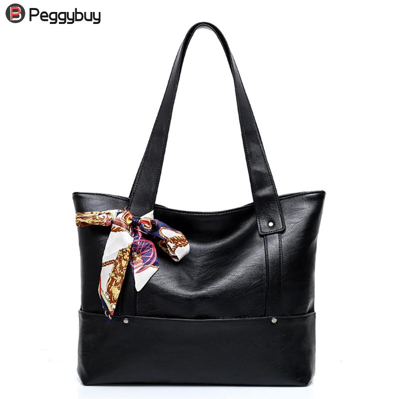 European Women Casual Tote Bag PU Leather Handbag Silk Scarf Large-Capacity Handbags Ladies Shoulder Bags Girl Pure Shopping Bag 2018 new women bag ladies shoulder bag high quality pu leather ladies handbag large capacity tote big female shopping bag ll491