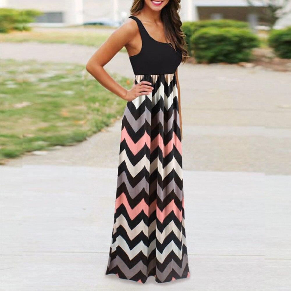 Vestito da estate delle donne A Righe Vestito Lungo Boho Della Signora Della Spiaggia di Estate Maxi Vestito delle donne 2018