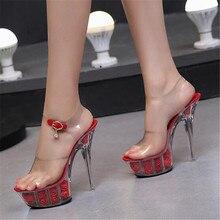 FeiYiTu Shoes Woman New 2019 Summer High heels 15cm Thin Heels Rose Flowers Transparent Crystal Sandalia feminina Ladies