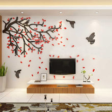 DIY 3D TV Background Wall Stickers Creative Tree Acrylic Crystal Stickers For Living Room Bedroom Dinning Room Wall Art Decor(China)
