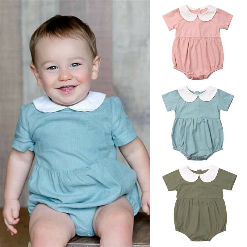 Lovely Newborn Infant Baby Girls Short Sleeve Peter pan Collar   Romper   Jumpsuit Solid Cotton Summer Outfit Clothes Baby Clothing