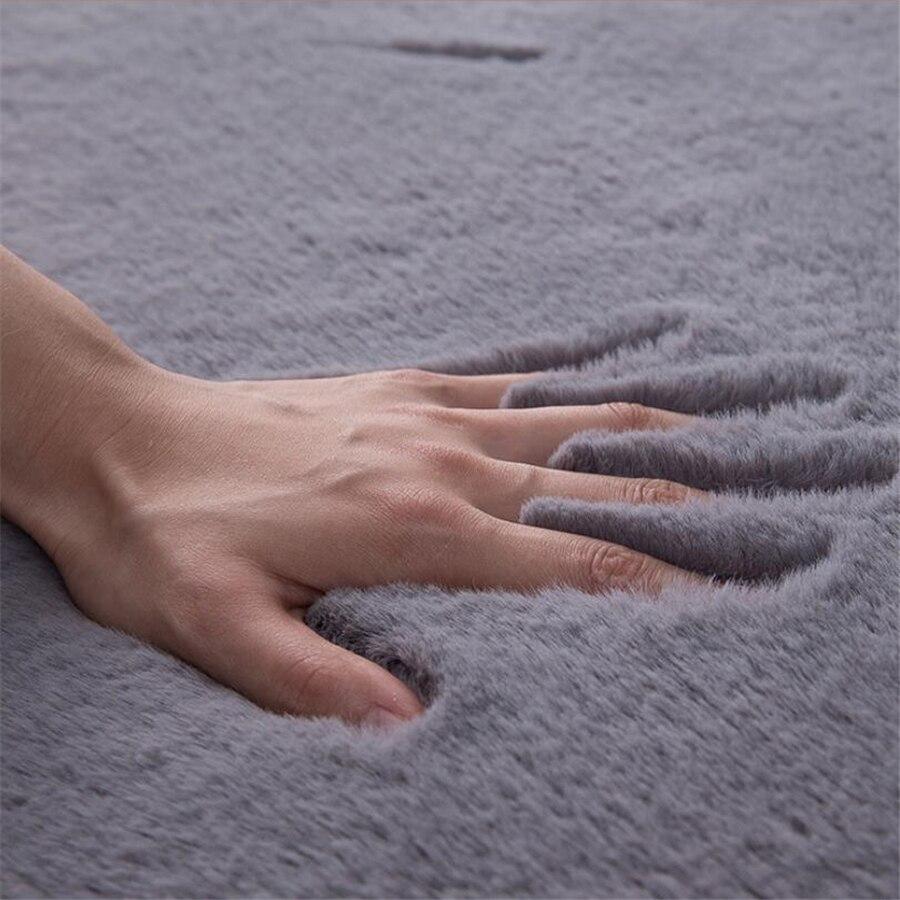Style nordique imitation fourrure de lapin tapis chambre chevet maison épaississement tapis salon table basse ronde en peluche tapis de sol complet