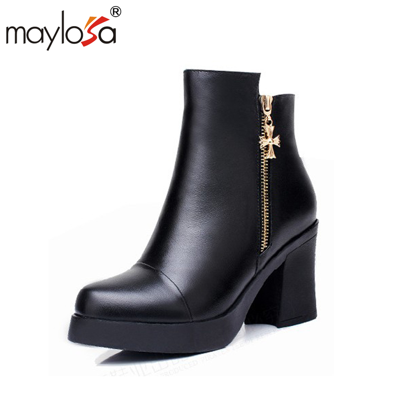 MAYLOSA women boot genuine leather Winter warm cotton wool Ankle boots Thicken warm snow boot цена