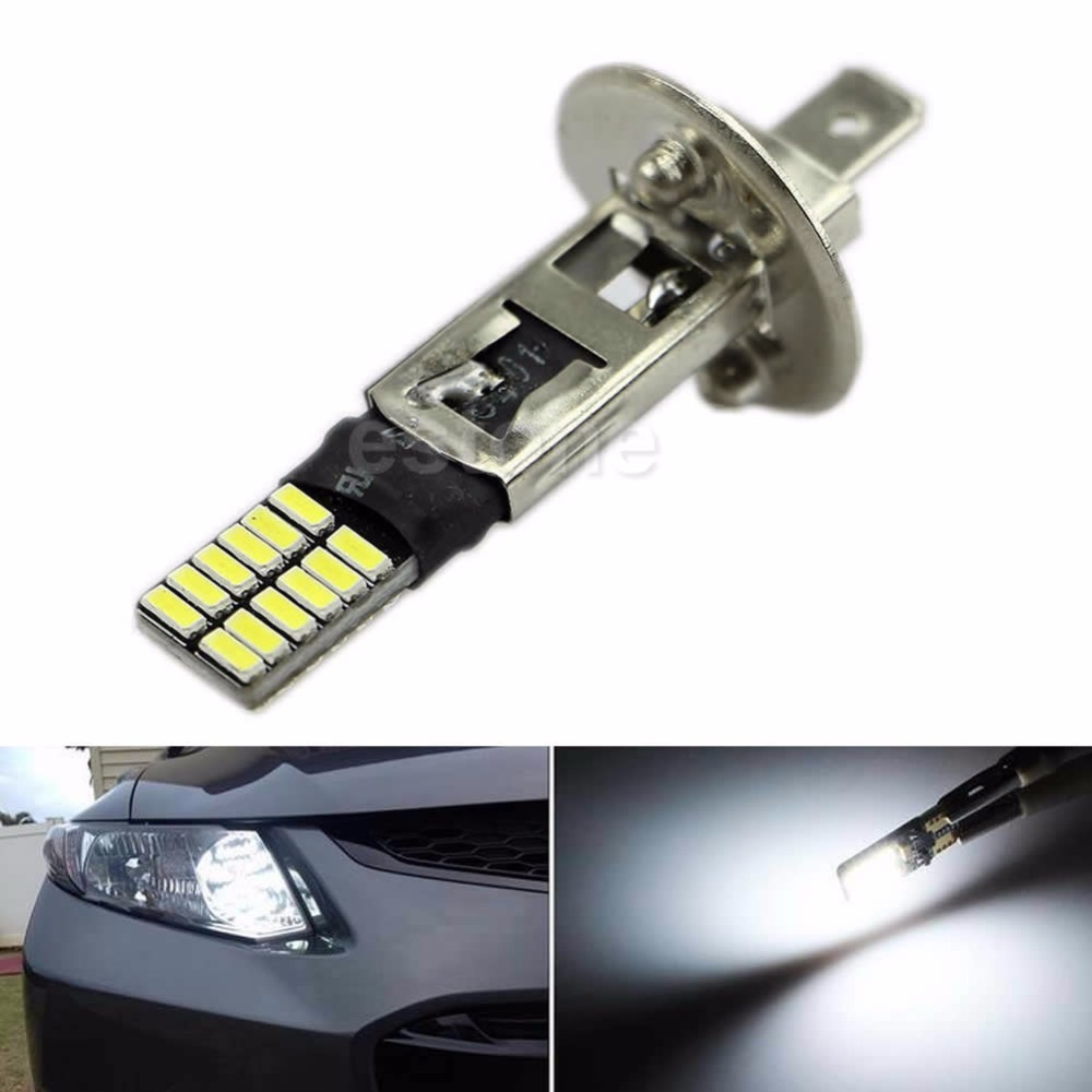 6500K 24-SMD HID Xenon White <font><b>H1</b></font> <font><b>LED</b></font> Replacement Bulbs For Fog Lights Driving <font><b>DRL</b></font> image