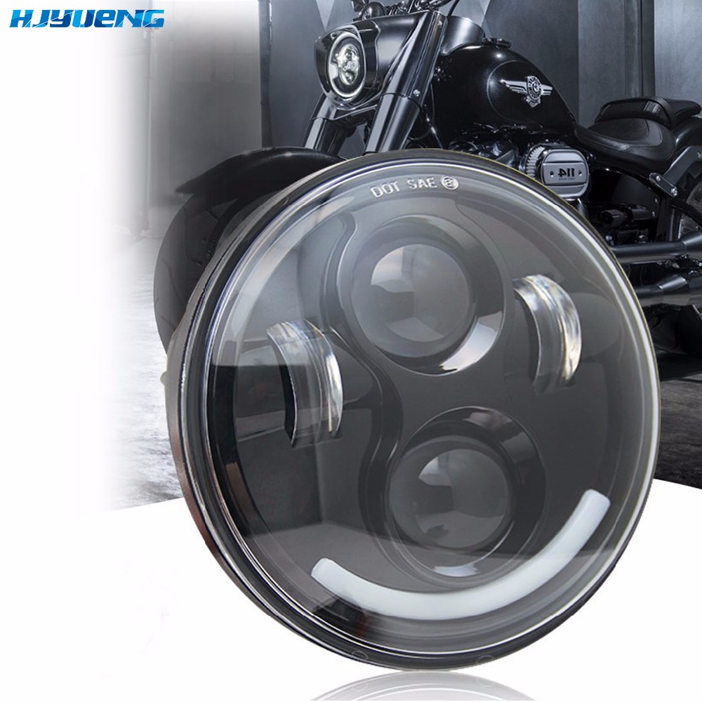 HJYUENG 45w 5.75 INCH MOTORCYCLE PROJECTOR Car Angel Eyes DRL Running Lights LED HEADLIGHT for HONDA VTX 1300 1800 harley davidson headlight price