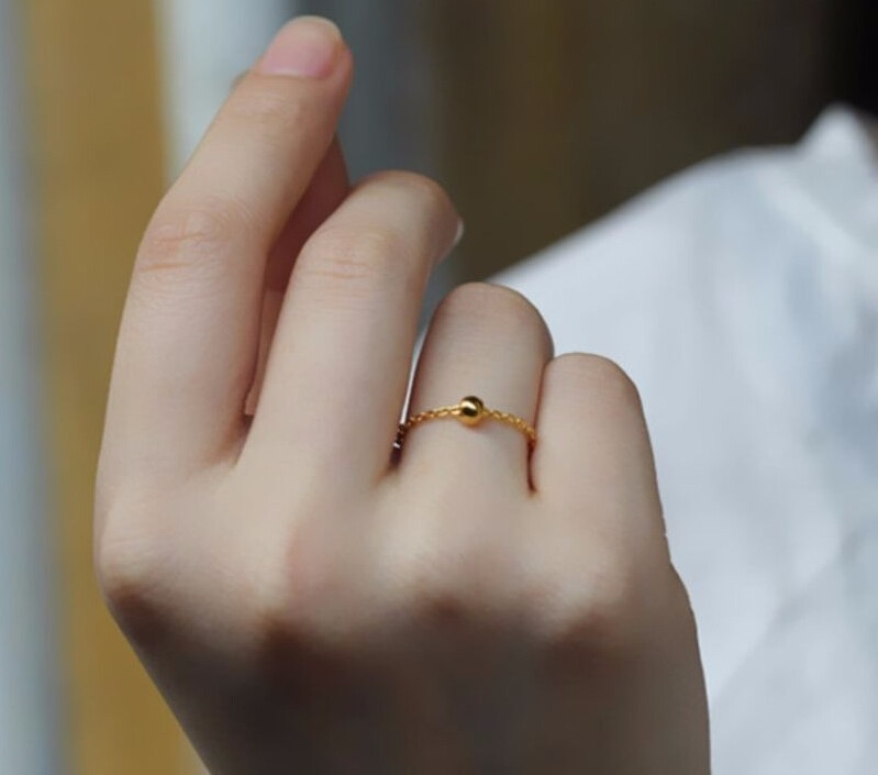 999 solide 24 K or jaune bague femmes O perle anneau/USA taille: 10