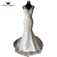 Real Images V Neck Sleeveless Lace Appliques Heavy Beads Crystals Luxury Wedding Dresses Custom Made Vestidos