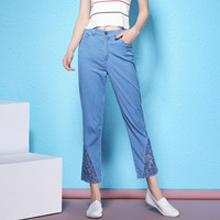 2018 Summer Women S Fashion Large Size Jeans Lace Ankle Length Pants Cotton Bombers Thin Pencil