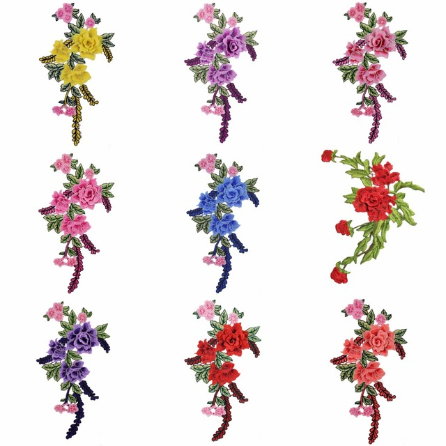 3D Patches Flowers Embroidered Sew On Patch For Clothing Jacket