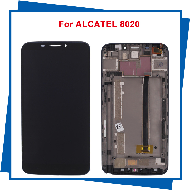 For ALCATEL One Touch Hero OT8020 8020 8020D Mobile Phone LCD Display Touch Screen Digitizer Assembly with Frame