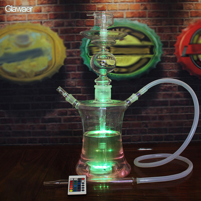 Glass Hookahs Smooking pipe and smoking nargile with Remote Multicolor LED and hookah bowl chicha and hookah bar