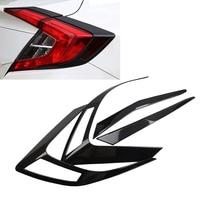 Car Styling ABS Rear Tail Light Lamp Cover Trim Carbon Fiber Texture Bezel Molding For Honda