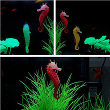 Image 4 - Silicone Artificial Luminous Glowing Effect Sea Horse Fish Tank Simulation Jellyfish Hippocampus Ornament Decoration Landscape
