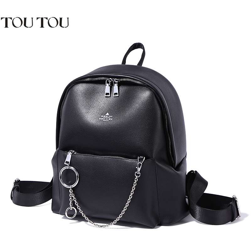 A1655 TOUTOU brand designer Large capacity backpack pu leather female bags college schoolbag Laptop Casual Backpacks For Girls