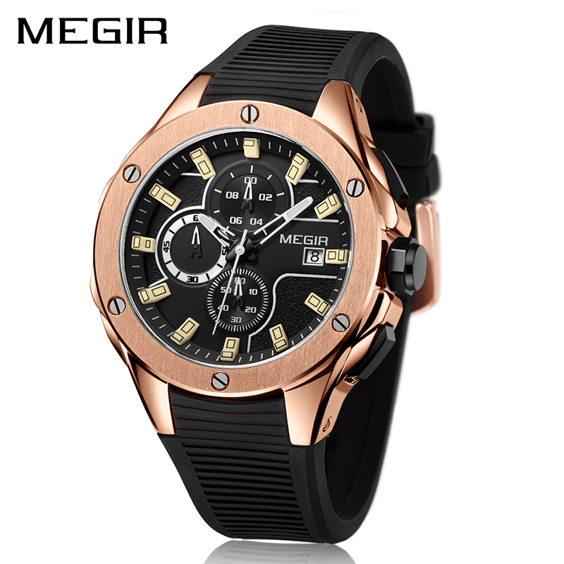 MEGIR Chronograph Quartz Men Watch Clock Relogio Masculino Luxury Brand Silicone Army Military Sport Watches Mens Saat 2053 megir mens sport watch chronograph silicone strap quartz army military watches clock men top brand luxury male relogio masculino