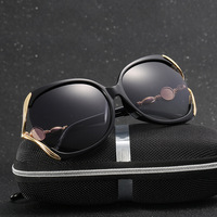 Vintage Polarized Cat Eye Sunglasses Women Brand Designer Round Metal Buckle Retro Hollow Driving Sun Glasses