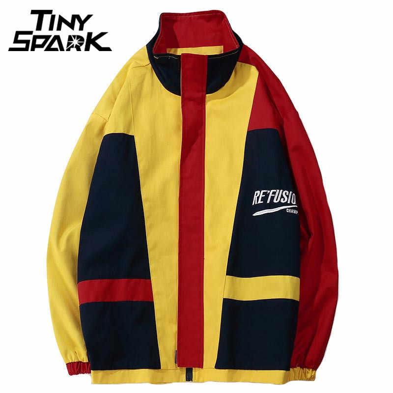 Coloridas chaquetas Hip Hop Windbreaker cremallera completa Vintage  Patchwork abrigos Casual Retro Streetwear amarillo 2018 otoño 631fab190ee