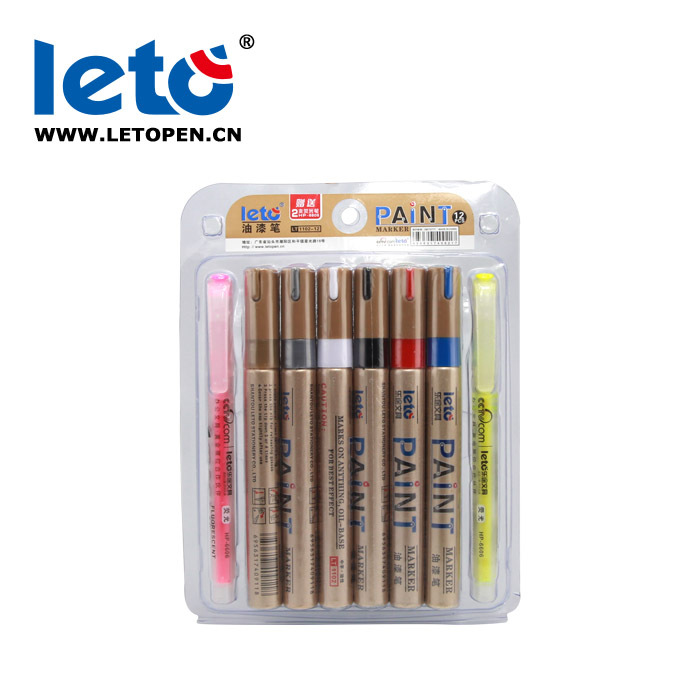 LETO Permanent Marker Set 12 Colors Waterproof Oil Paint Markers for Car Tire CD glass porcelain