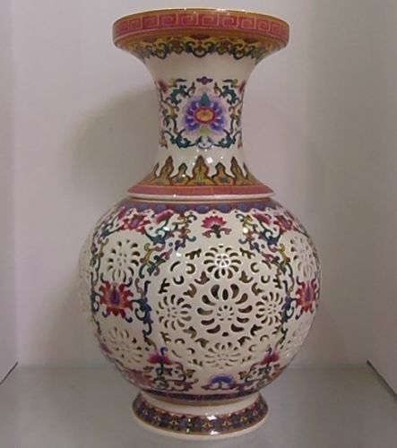 Crafts Statue Hollowed Chinese Rose Colorful Porcelain Big Vase W