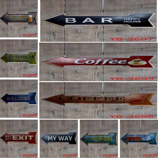 20pcs Coffee Beer Garage cupcake Exit Vintage Arrow Irregular Tin Sign Gift Craft Wall Plaque Cafe Supermarket Decor