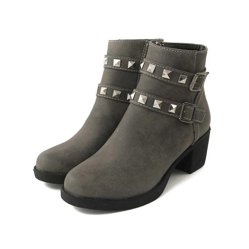 WETKISS Yüksek Topuklu Ayak Bileği Kadın Çizmeler Yuvarlak Ayak Pu Ayakkabı Perçin Kadın Çizme platform ayakkabılar Kadınlar 2018 Kış Artı Boyutu 33 -44