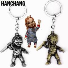 LLavero de la semilla de Chucky de la película de Horror, colgante con cuchillo de mano, llavero con anilla bolso para coche, llavero, llaves, recuerdos para fanáticos