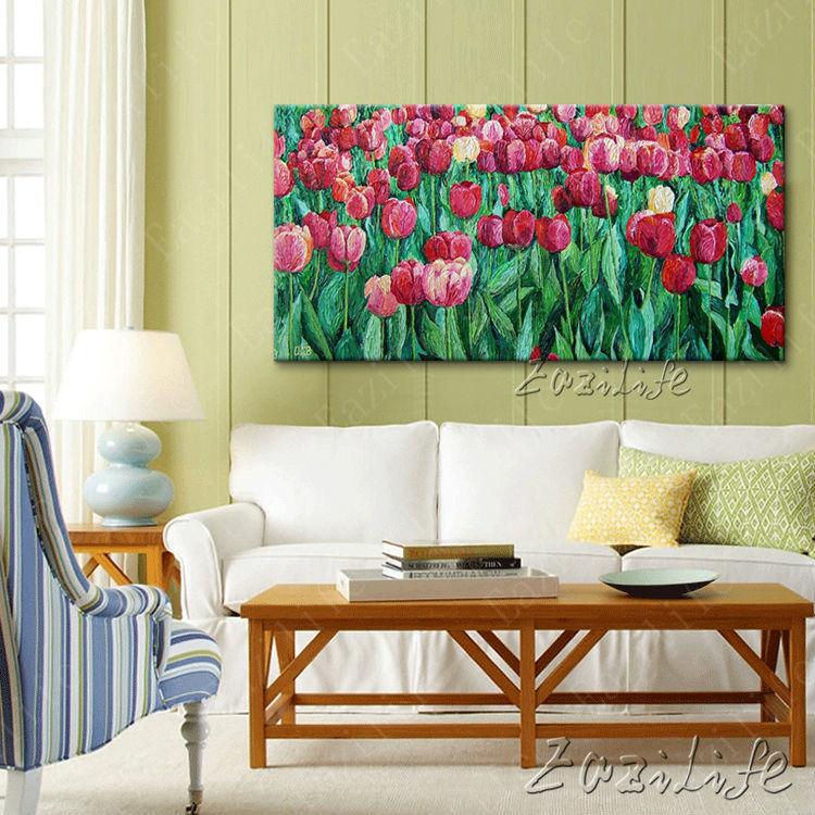 Červené tulipány květ olejomalby ručně malované na plátně cuadros Dekorace ložnice Wall Art Obrázky pro obývací pokoj Home Decor