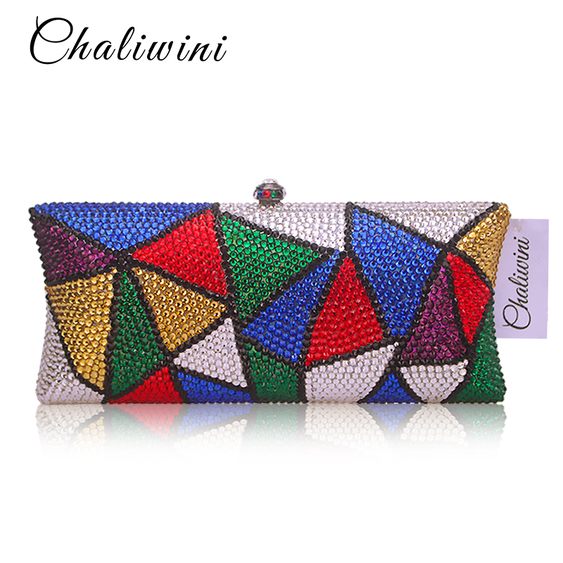 Multicolor Crystal Evening Bag High quality Luxury Diamond Plain Clutch Bag Designer rhinestone pochette Women Handbags 2017 designer handbags high quality women clutch hot luxury crystal full diamond wallet casual evening bags b100b dbb