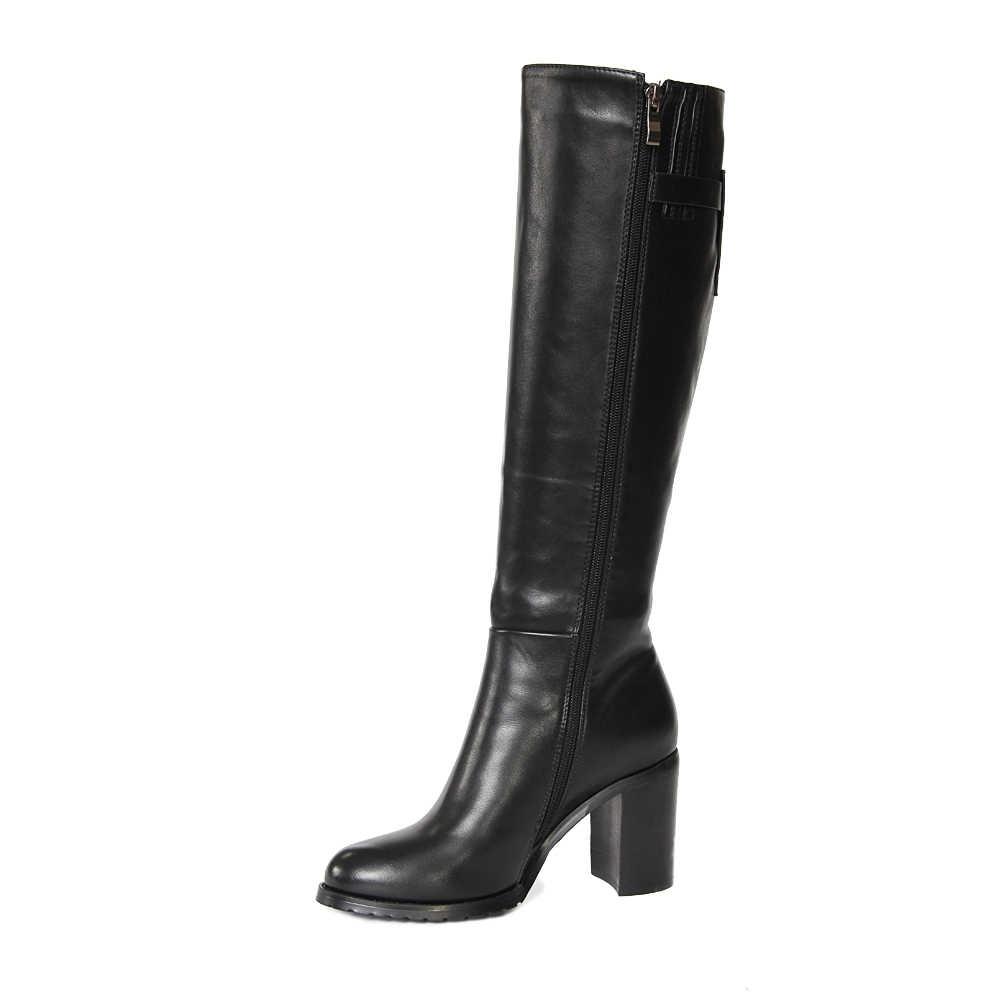 XAXBXC 2018 ฤดูหนาวสีดำหนังเทียมหนังเข็มขัดซับส้นสูงรองเท้าผู้หญิงหิมะรองเท้าทำด้วยมือผู้หญิงสบายๆรองเท้า