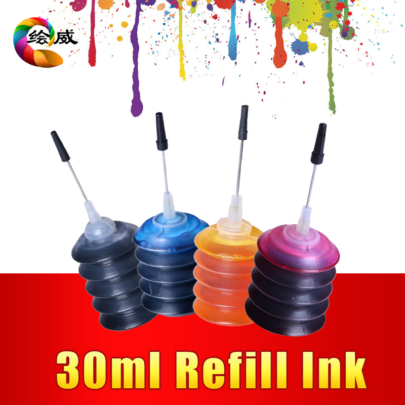 4 Pcs Universal 30ml dye ink K C M Y Refill Ink kit For HP