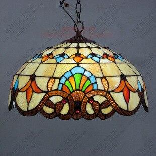 Tiffany Baroque vitrail suspendu Luminaire E27 110-240v chaîne pendentif lumières éclairage lampes pour maison salon salle à manger - 5