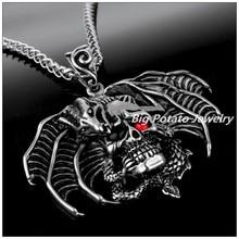 62mm*61mm 45g Fine Carving Stainless Steel Silver Black Gothic Jewelry Skeleton Skull Dinosaur Men's Pendant Necklace Hip-hop