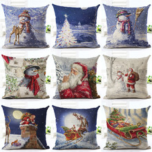 18″ Merry Christmas Series Cushion Cover Santa Claus Christmas Tree Christmas Gifts And Snowman Printing Throw Pillow Pillowcase