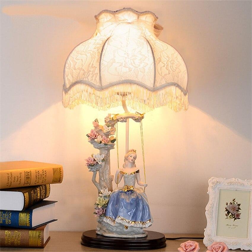 European Lace Table Lamps Bedside Bedroom Princess Girl Fabric Shade Home Decor Luxury Villa Ceramic Study Desk Table Lights Aliexpress