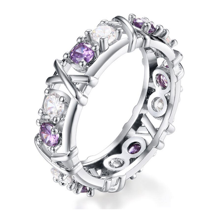 Cross Rings For Women Silver Plated Austrian Crystal CZ Zircon Fashion Jewelry Womens Wedding Engagement Finger Ring Bague