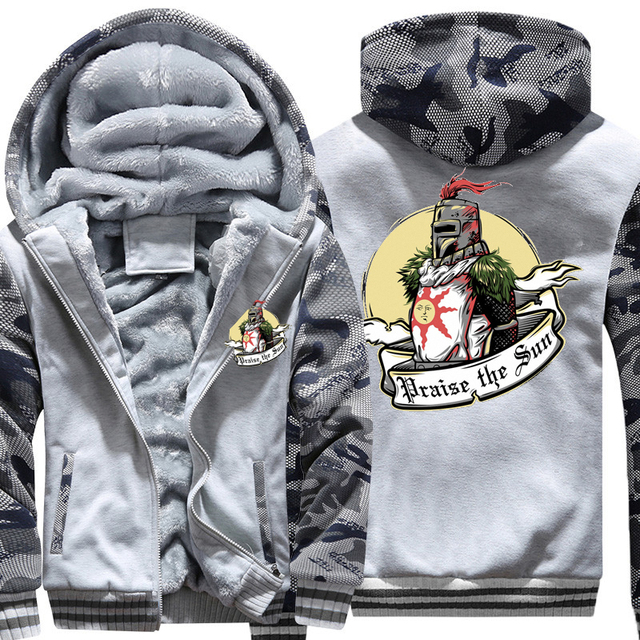 USA SIZE 2018 New Fashion Winter Warm Dark Souls hoodies Game Praise the sun Men Thicken Hooded Warm Jacket Mens Coats Plus size