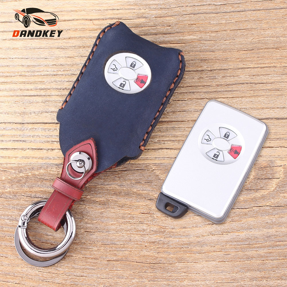 DANDKEY Genuine Leather Protector Car Keychain Key Cover Case For Toyota Avalon Camry Corolla Yaris 3+panic 4 Buttons